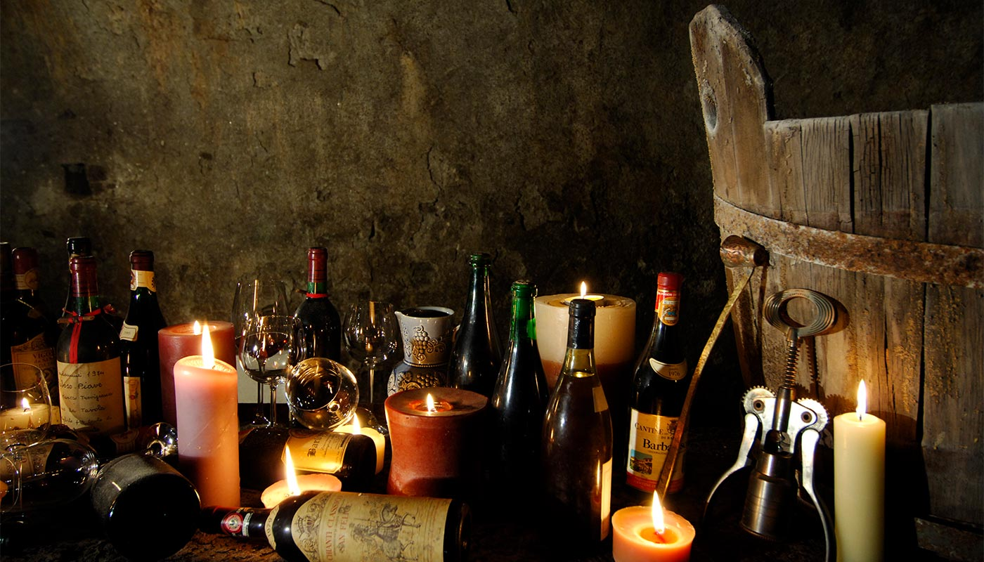 A glimpse of an old wine and spirits cellar at Hotel Gratschwirt